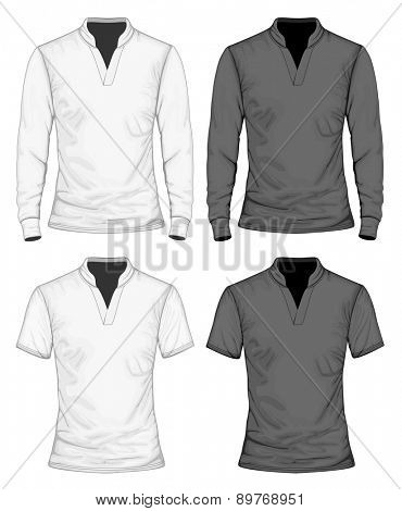 Men's t-shirt short and long sleeve with stand collar. Vector illustration.