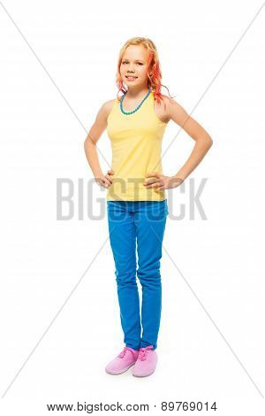 Cute beautiful girl full height portrait isolated