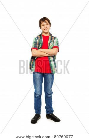 Handsome nice boy standing isolated on white