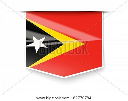 Square Label With Flag Of East Timor