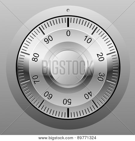Realistic illustration of safe combination lock wheel.