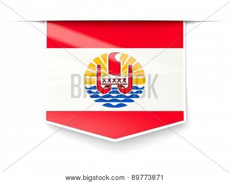 Square Label With Flag Of French Polynesia