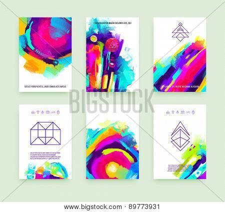 Set of Cards for Marriage, Wedding, Bridal, Valentine's day or Birthday Invitations. Trendy Geometric and Thin Line Hipster Logotypes for Business Cards, Flyers, Banners, Placards and Posters Design.