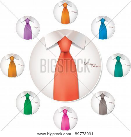 9 color variables of shirt and tie illustration, vector