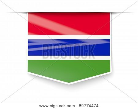 Square Label With Flag Of Gambia