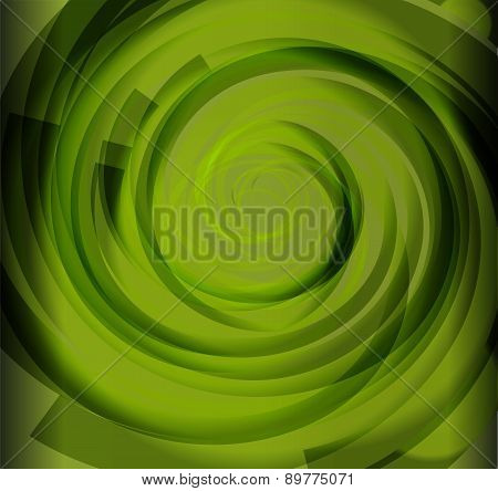 Green Color Spiral Background