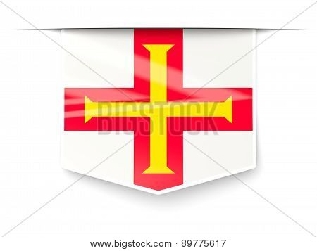 Square Label With Flag Of Guernsey