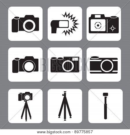 DSLR Camera, flash, tripod, monopod icon