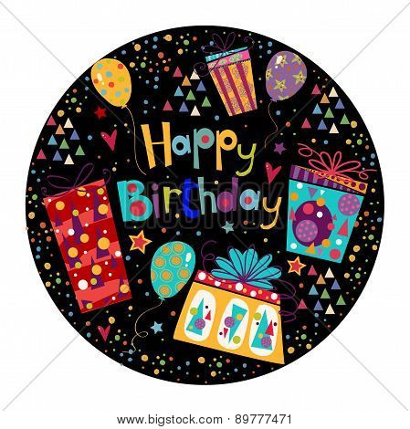 Beautiful happy birthday greeting card with gift and balloons in bright colors.