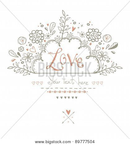 Beautiful  Love card in vintage style.