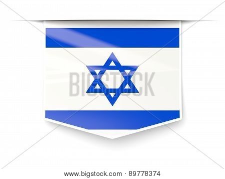 Square Label With Flag Of Israel