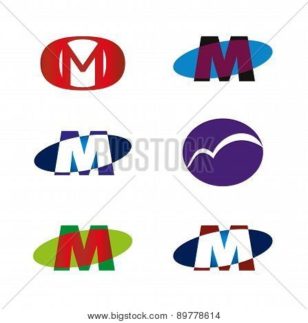 Letter M icon template element