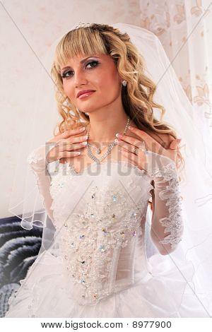 Beautiful Blond Bride  On Her Wedding Day