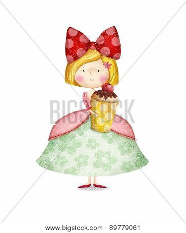 Little Princess.Birthday greeting card. Cute girl with cupcake