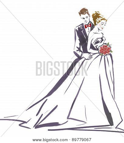 Wedding couple hugging.Silhouette of bride and groom.Wedding invitation.Wedding card.