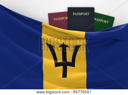 Travel and tourism in Barbados, with assorted passports