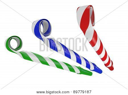 3D noisemaker paper horns for birthday parties and celebrations