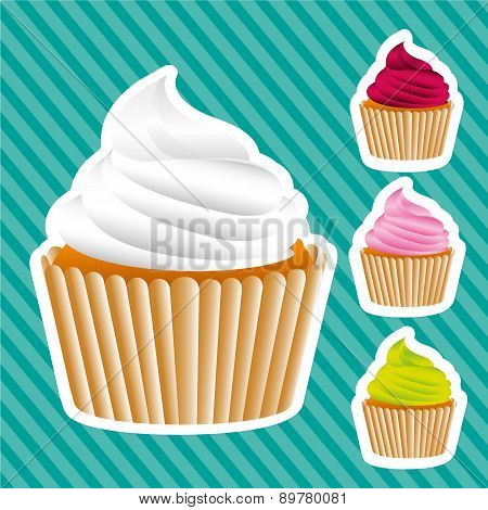 Basic Cupcakes Stickers On Bottom Lines Vector Illustration
