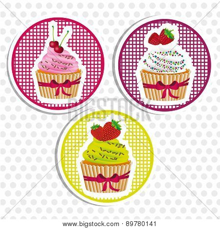 Stickers Cupcakes With Bows Dotted Background