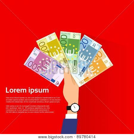 Hand Hold Euro Banknote Pack Flat Design