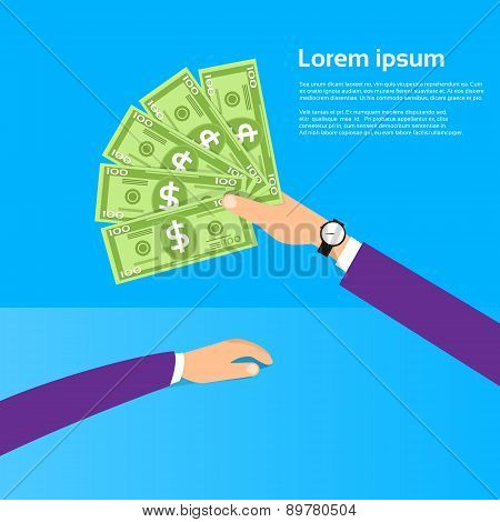 Hand hold One Hundred 100 Dollars Banknote Pack Flat Design