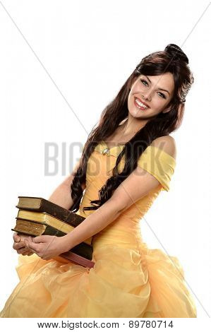 Woman dressed in princess costume holding books isolated over white background