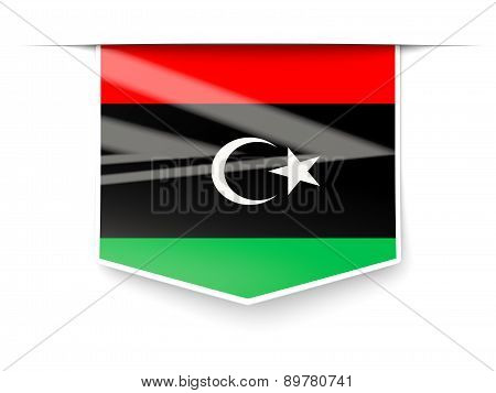 Square Label With Flag Of Libya
