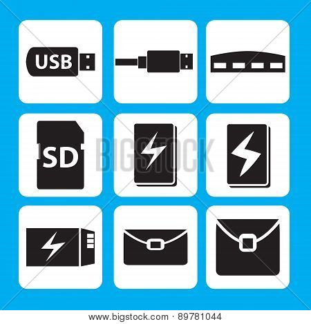 USB flash drive, USB cable, hub, memory stick, Power bank, Battery icon