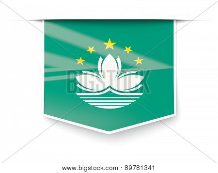 Square Label With Flag Of Macao