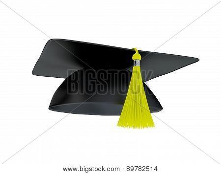 Graduation Cap Isolated On White.