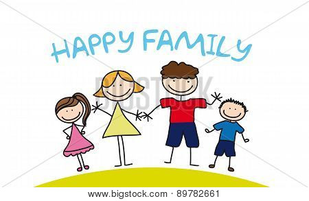 Happy Family Drawing Over Grass Vector Illustration