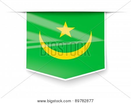 Square Label With Flag Of Mauritania