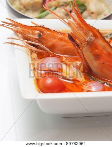 Shrimp soup in thaland