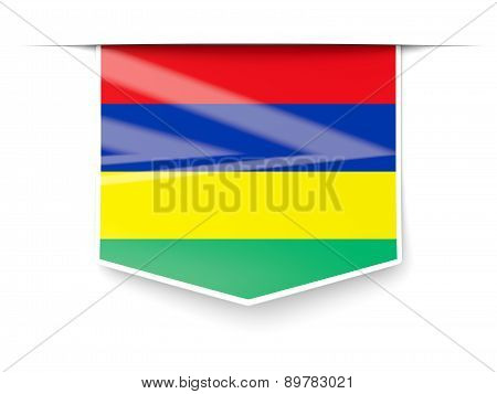 Square Label With Flag Of Mauritius