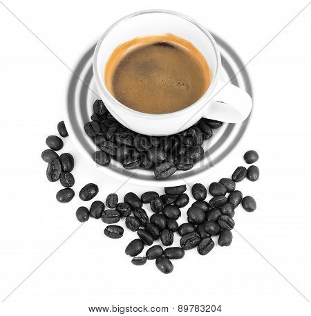 Espresso cup and coffee beans