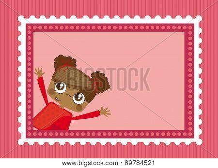 Girl Over Pink Postage Over Pink Background Vector Illustration
