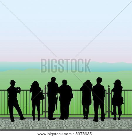 Silhouettes Of People On The Observation Deck, Vector