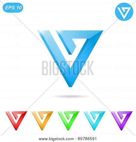 V Letter Logo Concept With Color Variations