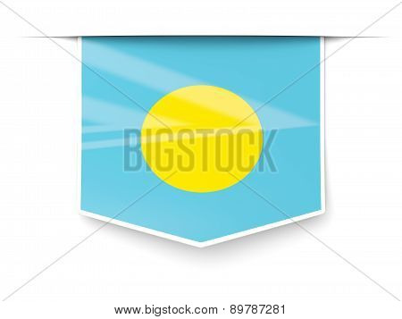Square Label With Flag Of Palau