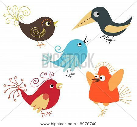 Set Of Cute Birds