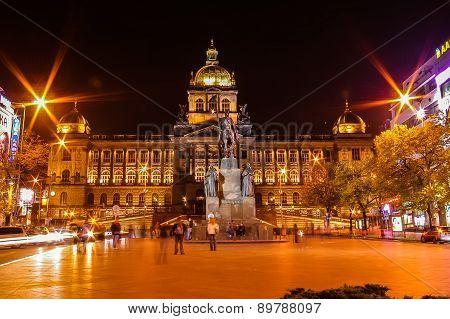Night View On Wenceslav Square In Prague, Czech Republic