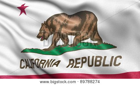 US state flag of California with great detail waving in the wind.