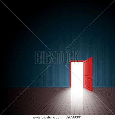 Red Door One Room Exit Light Open