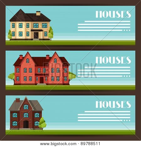 Town horizontal banners design with cottages and houses