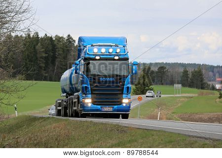 Blue Scania R500 Tank Truck On The Road At Spring