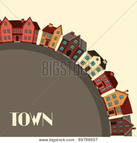 Town background design with cottages and houses