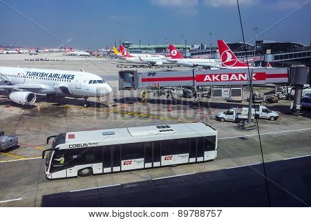 Top View On Aircraft In Istanbul Ataturk Airport