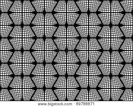 Design Seamless Monochrome Checked Hexagon Pattern