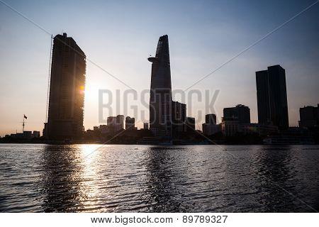 Panorama of Ho Chi Minh viewed over Saigon river