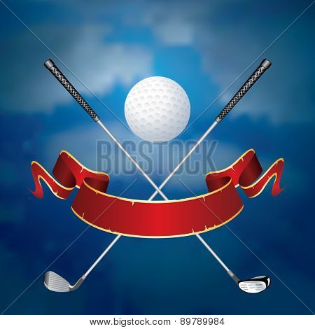 vector abstract illustration with golf ball like moon and blank banner
